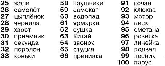 Списки слов для запоминания вместе с их порядковыми номерами
