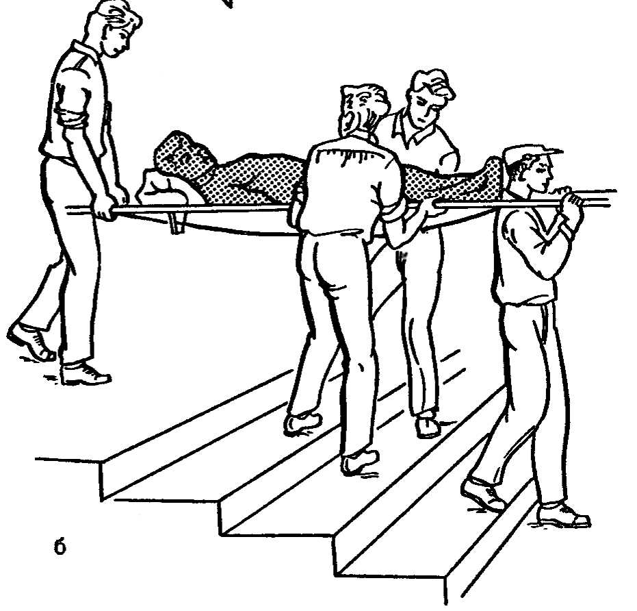 Рис. 8. Положение носилок при подъеме (а) и спуске (б).