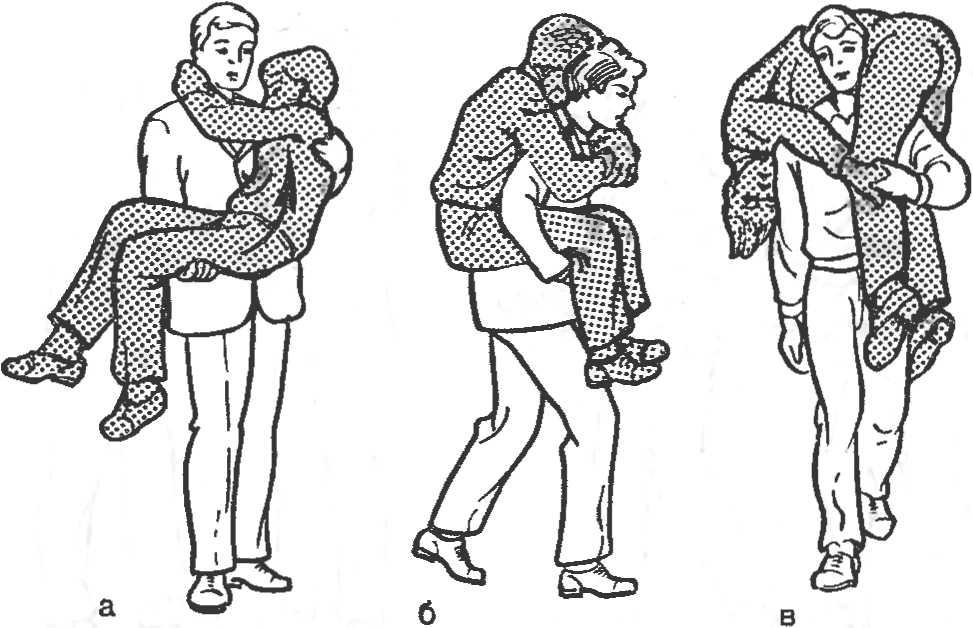 Рис. 11. Перенос пострадавшего одним человеком. а — на руках; б — на спине; в — на плечах.